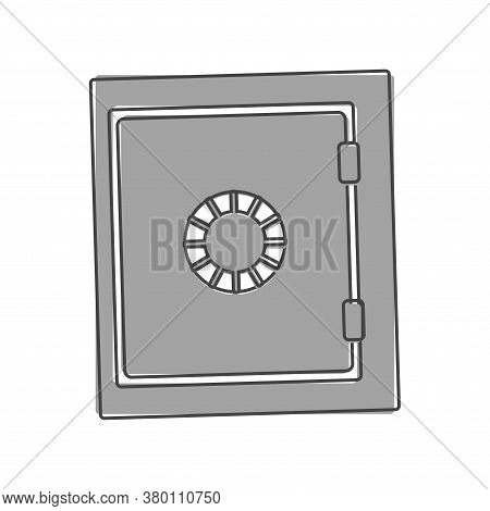 Safe For Money Vector Icon. Symbol Of Safety Of Money And Documents Cartoon Style On White Isolated