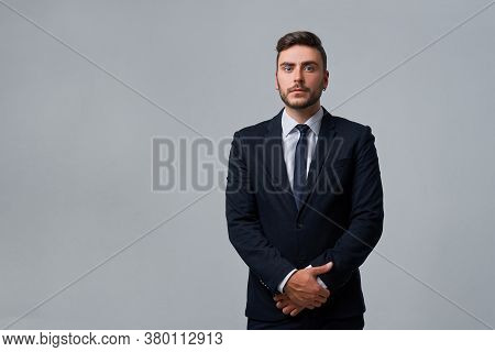 Businessman Business Person. Man Business Suit Studio Gray Background. Modern Millenial Person Styli