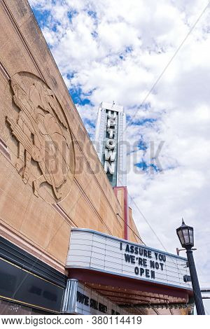 Mpls, Mn/usa - June 21, 2020: Landmark Movie Theater Sign And Marquee With Humorous Message In Uptow