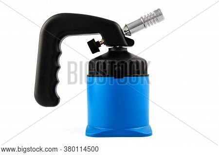 Blue Manual Gas Burner Isolated On A White Background.