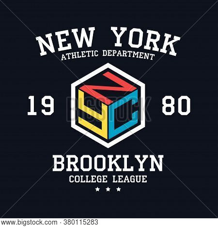 Nyc Design For T-shirt. New York, Brooklyn Typography Graphics For Tee Shirt. College Print For Appa