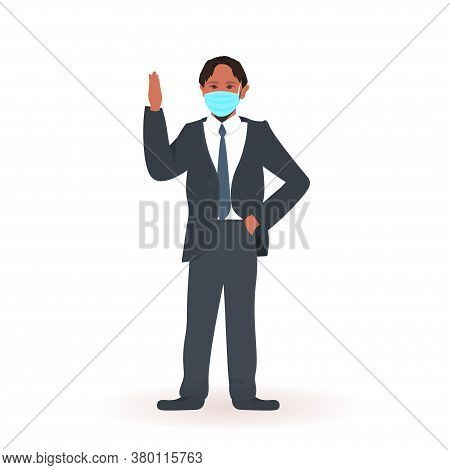 African American Schoolboy Wearing Face Mask To Prevent Coronavirus Pandemic Social Distancing Covid