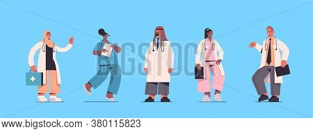 Set Male Female Doctors In Uniform Mix Race Medical Workers Collection Healthcare Medicine Concept H