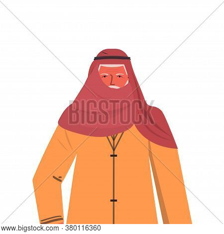 Old Arab Man In Traditional Clothes Senior Arabic Male Cartoon Character Gray Haired Grandfather Por