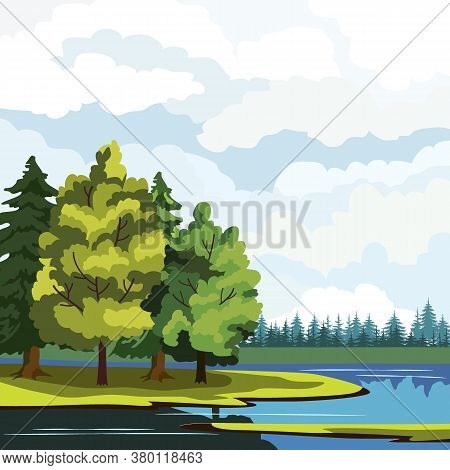 Landscape, Lake And Tree Species, Vector Illustration, Background For Different Designs