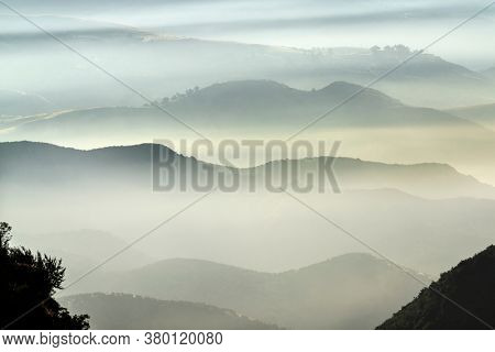 Misty mountains ridges above the canyons north of Chatsworth in Los Angeles, California.