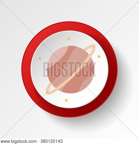 Saturn Colored Button Icon. Element Of Space Illustration. Signs And Symbols Icon Can Be Used For We