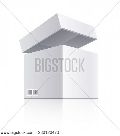 White open box with lid Realistic packaging with barcode, isolated on white transparent background. Delivery and shipping parcel pack object. 3D illustration.