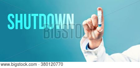 Shutdown Coronavirus Theme With A Doctor Holding A Laboratory Vial On A Blue Background