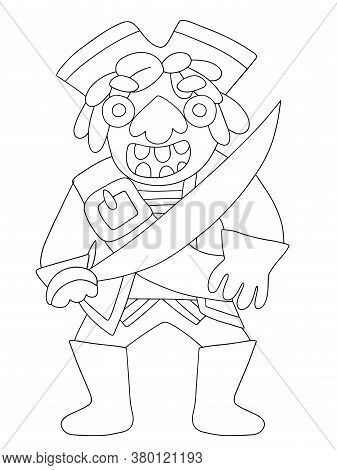 Full Length Pirate Coloring Page Stock Vector Illustration. Big Pirate Captain With Tricorn Hat And