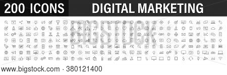 Set Of 200 Digital Marketing Web Icons In Line Style. Social, Networks, Feedback, Communication, Mar
