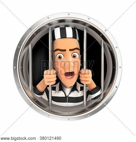 3d Convict Behind Bars, Illustration With Isolated White Background