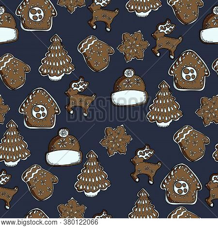 Cute Gingerbreads With White Icing On A Dark Background, House-shaped Pastries, Snowflake, Mitten, H