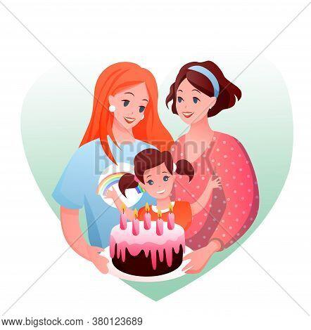 Lesbian Family Celebration Vector Illustration. Cartoon Flat Happy Parents With Girl Child Celebrati