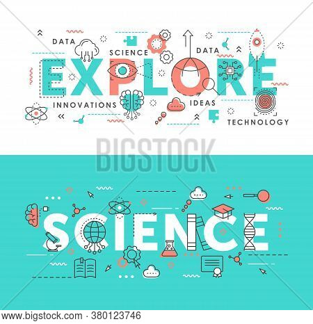 Explore Science Word Abstract Thin Line Vector Illustration Set. Flat Horizontal Banners Design With