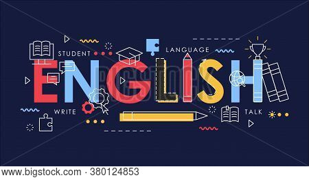 Learn English Thin Line Vector Illustration For Website Interface Design, Books For Student Learning