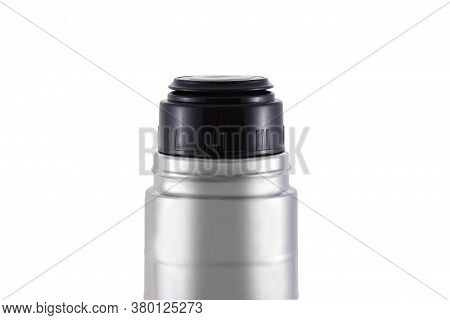 Close-up Of A Stainless Steel Thermos Standing Isolated On A White Background. It Can Be Used For Ho