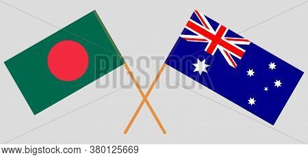 Crossed Flags Of Bangladesh And Australia. Official Colors. Correct Proportion. Vector Illustration