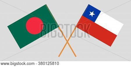 Crossed Flags Of Bangladesh And Chile. Official Colors. Correct Proportion. Vector Illustration