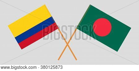 Crossed Flags Of Bangladesh And Colombia. Official Colors. Correct Proportion. Vector Illustration