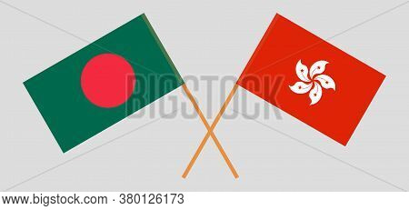 Crossed Flags Of Bangladesh And Hong Kong. Official Colors. Correct Proportion. Vector Illustration