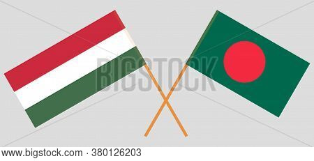 Crossed Flags Of Bangladesh And Hungary. Official Colors. Correct Proportion. Vector Illustration
