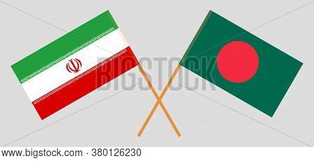 Crossed Flags Of Bangladesh And Iran. Official Colors. Correct Proportion. Vector Illustration