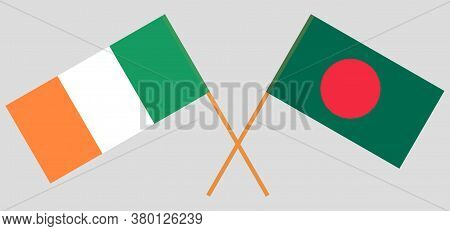 Crossed Flags Of Bangladesh And Ireland. Official Colors. Correct Proportion. Vector Illustration