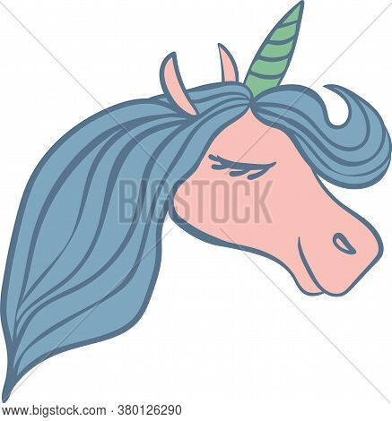Unicorn Head Simple Vector Illustration. Mythical Horse Profile In Pink, Blue, And Teal Colors.