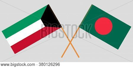 Crossed Flags Of Bangladesh And Kuwait. Official Colors. Correct Proportion. Vector Illustration