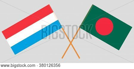 Crossed Flags Of Bangladesh And Luxembourg. Official Colors. Correct Proportion. Vector Illustration