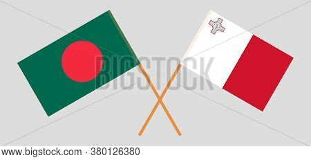 Crossed Flags Of Bangladesh And Malta. Official Colors. Correct Proportion. Vector Illustration