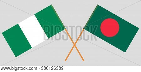 Crossed Flags Of Bangladesh And Nigeria. Official Colors. Correct Proportion. Vector Illustration