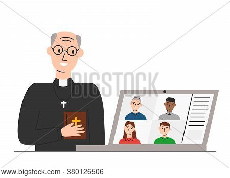 Vector Illustration Of Online Church And Pastor Greeting Parishioners Isolated. Elderly Priest Holdi