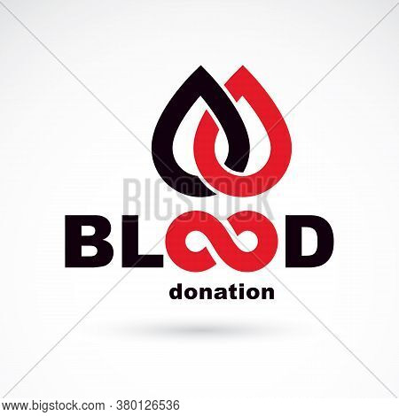 Blood Donation Concept Vector Graphic Illustration Isolated On White. Hematology Theme Emblem. The 1