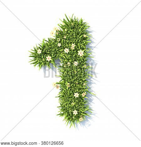 Grass Font Number 1 One 3d Rendering Illustration Isolated On White Background