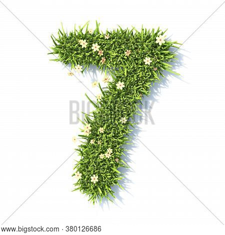 Grass Font Number 7 Seven 3d Rendering Illustration Isolated On White Background
