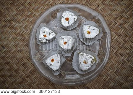 Top View Of Indian And Pakistani Sweet With Silver Vark Covered Mithaai For Festivals Like Diwali, E