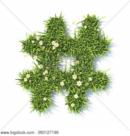 Grass Font Hashtag Sign 3d Rendering Illustration Isolated On White Background