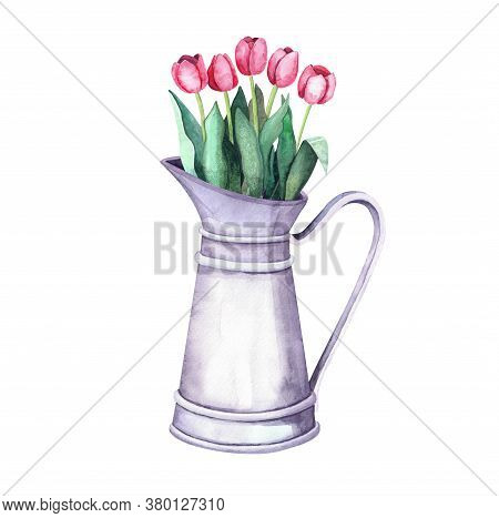 Watercolor Flower Arrangement In A Vintage Metal Pitcher. Bouquet With Tulips On White. Farm Interio