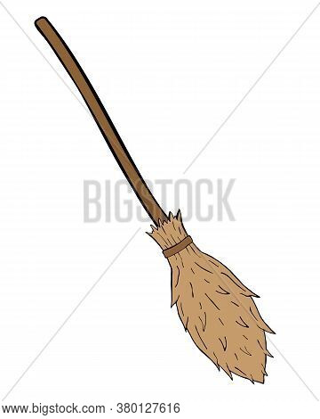 Witch Broom Vector Isolated On The White Background. Hand Drawn Illustration For Print Design, Banne