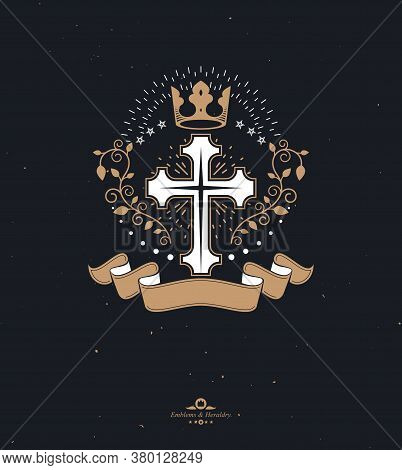 Cross Religious Graphic Emblem Created Using Imperial Crown And Floral Ornament, Christian Crucifixi