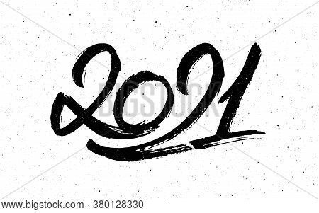 2021 Happy New Year Of The Ox. Greeting Card Design With Chinese Calligraphy For Holiday. Hand Drawn
