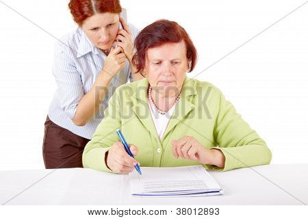women and paperwork