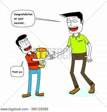 Illustration Of A Man Congratulate A Kid
