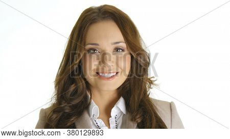 Woman smiling portrait. Young business woman professional looking at camera happy.