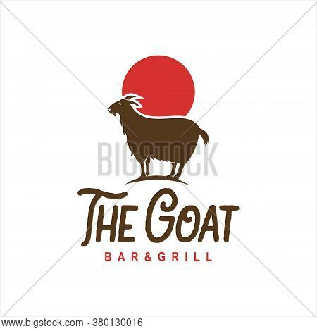 Goat Logo Standing Animal Cartoon Vector Fun Style For Food And Barbecue Bar Design Template Idea