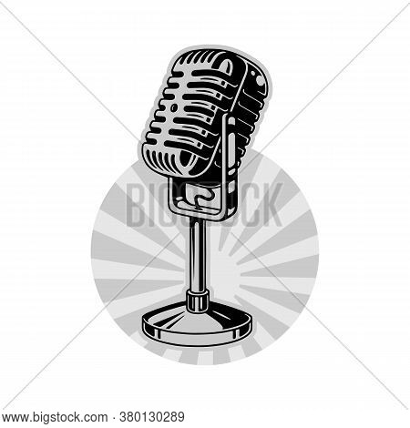 Monochrome Retro Microphone For Voice, Music, Sound, Speak, Radio Recording. Outline. Vector Illustr