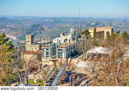 View of San Marino city from above, The Respublic of San Marino. Landscape, cityscape