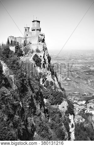 The First tower of San Marino on Titano mount, Respublic of San Marino.  Black and white photography, landscape